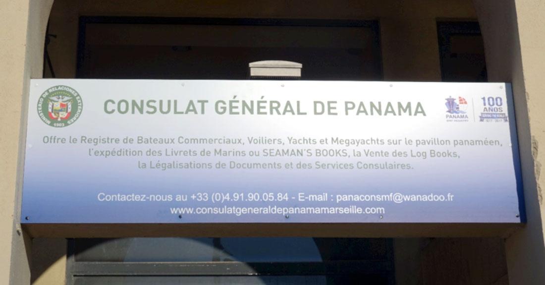 enseigne sur facade du consulat général de panama