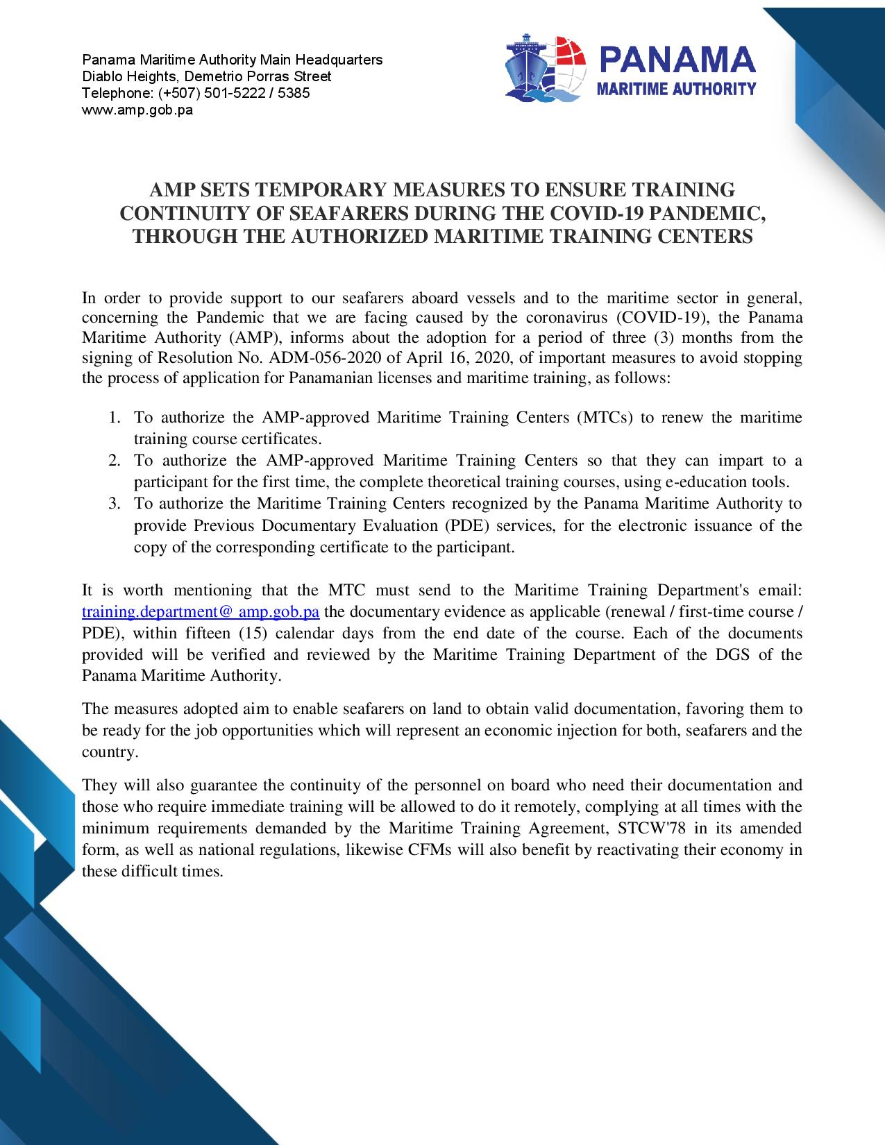 AMP SETS TEMPORARY MEASURES TO ENSURE TRAINING CONTINUITY OF SEAFARERS DURING THE COVID-19 PANDEMIC, THROUGH THE AUTHORIZED MARITIME TRAINING CENTERS-page-001