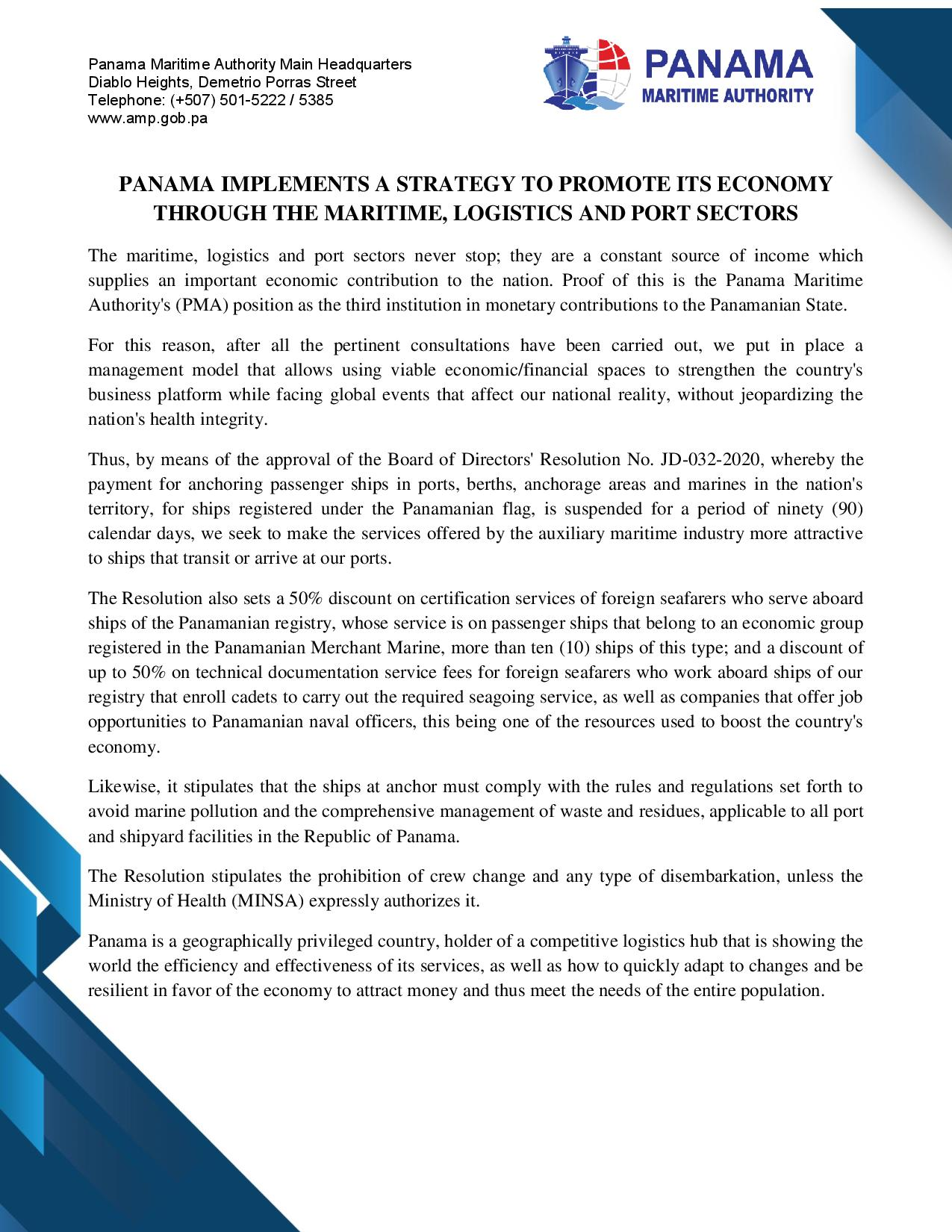 PANAMA IMPLEMENTS A STRATEGY TO PROMOTE ITS ECONOMY THROUGH THE MARITIME, LOGISTICS AND PORT SECTORS-page-001