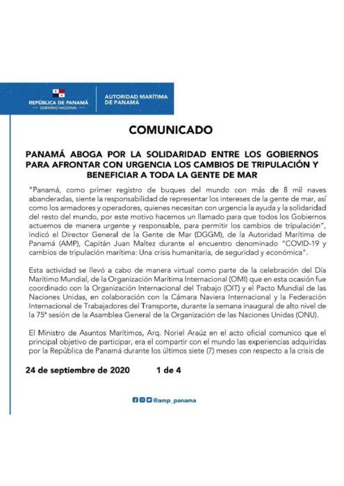 COMUNICADO PANAMA ABOGA POR LA SOLIDARIDAD ENTRE LOS GOBIERNOS PARA AFRONTAR CON URGENCIA LOS CAMBIOS DE TRIPULACIÓN-page-001