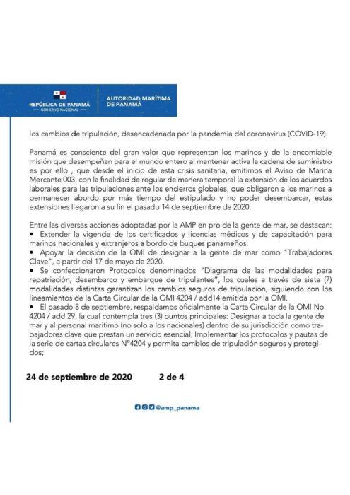 COMUNICADO PANAMA ABOGA POR LA SOLIDARIDAD ENTRE LOS GOBIERNOS PARA AFRONTAR CON URGENCIA LOS CAMBIOS DE TRIPULACIÓN-page-002